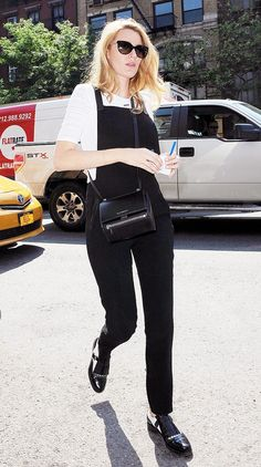 Blake Lively makes a pair of black overalls appear sleek and sophisticated. // #Fashion #StreetStyle