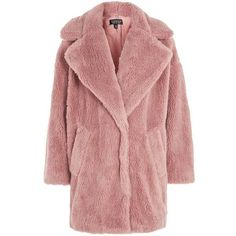 TopShop Borg Cocoon Coat (8.715 RUB) ❤ liked on Polyvore featuring outerwear, coats, dusty pink, topshop coats, red coat and cocoon coat