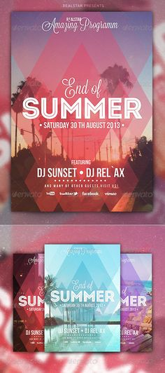 End of Summer Party Flyer Details You can easily change Colors… Web Design, Flyer Design, Layout Design, Shape Design, Typography Design, Branding Design, Lettering, Design Poster, Print Design