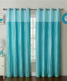 Look what I found on #zulily! Aqua Contrast Crushed Mondrian Curtain Panel by Victoria Classics #zulilyfinds
