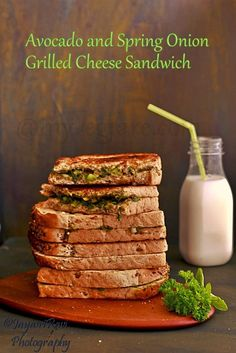 Avocado Spring onion Grilled Cheese Sandwich