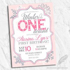 Winter one derland birthday party invitations blue winter one winter onederland birthday party invitations one derland wonderland first 1st snowflakes snow blue or pink filmwisefo Image collections