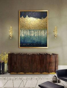 Large Abstract Oil Painting Wall Art Gold Painting Wall Decor #OilPaintingInspiration #OilPaintingTrees