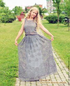"""Платья ручной работы. """"Каменная Роза"""" вязаное платье. Дар'Я - стильная вязаная одежда. Ярмарка Мастеров. Платье летнее, серый"""