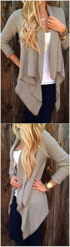 Only $33.99! Casual Coat Open Grey Knit Cardigan 2016 Street. Search more at http://chicnico.com