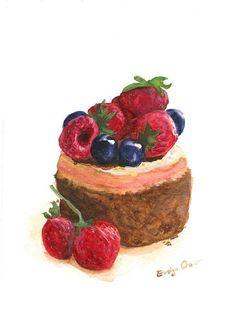 watercolor cake with berries Cake Drawing, Food Drawing, Dessert Illustration, Watercolor Illustration, Sweet Drawings, Food Sketch, Watercolor Cake, Cupcake Art, Food Painting