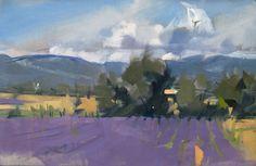 """Lavender & Clouds"" Maggie Siner 12"" x 19"" Oil #art #artwork #artist #creative #decoration #fineart #oil #oilpainting #oiloncanvas #brazier gallery #painting #paint #painter #maggiesiner #siner #landscape #fields #lavender #clouds #italy"