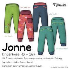 Hier entlang zur Version Größe 50 - 104   Jonne ist eine bequeme Kinderhose, die aus dehnbaren und nicht dehnbaren  M...