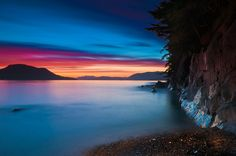 Sunset long exposure along Sitka, Alaska coast