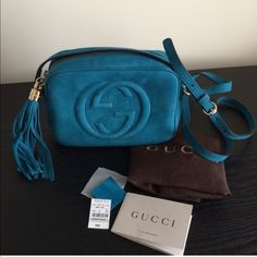 HP GUCCI SoHo Nuback Leather Disco Bag Guaranteed Authentic!! Brand new Gucci Nubuck Leather Disco Bag. Color: Turquoise . Comes with dustbag, and tags as pictured. SOLD OUT NATIONWIDE! Take advantage of posh free authentication and promotional free shipping (ask how). ❗️❗️NO TRADES❗️❗️ tag price $980 plus tax!! Gucci Bags Crossbody Bags