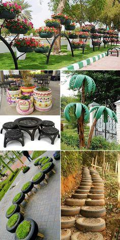 Tyres recycle, Home garden design, Tire garden, Di - Recycled Garden Ideas Home Garden Design, Diy Garden Decor, Home And Garden, Summer Garden, Tire Garden, Garden Art, Garden Mulch, Garden Compost, Garden Fencing