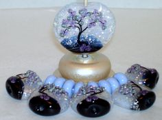 WSTGA~GLITTER OF A NEW DAY~(14) TREE FLORAL handmade lampwork focal glass bead #Lampwork By Molly Cooley