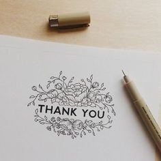 Thank you hand lettering with flowers by DawnNicoleDesigns