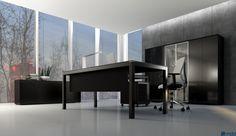 Стиль кабинета IMPULS - это прежде всего контраст выразительного черного и мягкого белого. Чистые нейтральные цвета и оттенки дуба и каштана в столешницах контрастируют с окрасом стеллажа. Шкафы в соответствующих цветах не только упорядочивают офисное пространство, но и становятся необычно важным декорационным элементом.