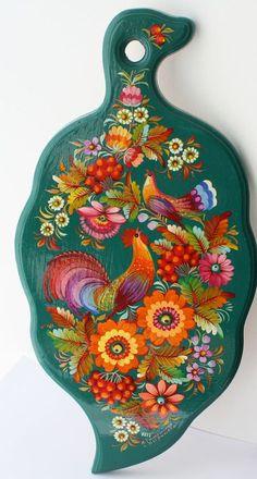Ukrainian Handmade wooden cutting board beech with Petrykivka Painting Folk Art