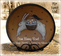 Prim Bunny Bowl - Painted by Sharon Bond Painting With Friends E Pattern