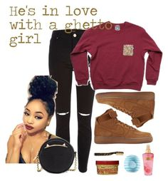 """""""He in love with a ghetto girl"""" by twizzlercharm ❤ liked on Polyvore featuring River Island, NIKE, Buly, Victoria's Secret, Eos, Betsey Johnson, rippedjeans, sweaterweather and Fall2016"""