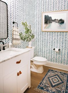 A Fun & Graphic Powder Room Reveal — Sunny Circle Studio This fun powder room was a fun space to design! We used patterned wallpaper for a fun wall accent, Bathroom Goals, Boho Bathroom, Bathroom Wall Decor, Bathroom Rugs, White Bathroom, Small Bathroom, Bathroom Ideas, Bathroom Makeovers, Bathroom Organization