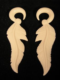 Avaia Artistic Jewelry  - Broken feather native american, carved bone, organic earrings - 2g or 6mm spiral ear gauges for stretched piercings, $34.99 (http://www.avaiaartisticjewelry.com/broken-feather-native-american-carved-bone-organic-earrings-2g-or-6mm-spiral-ear-gauges-for-stretched-piercings/)
