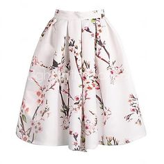Women's Floral Print Knee-length Vintage Skirts, Satin Micro-elastic - USD $13.29 ! HOT Product! A hot product at an incredible low price is now on sale! Come check it out along with other items like this. Get great discounts, earn Rewards and much more each time you shop with us!