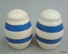 Salt & Pepper Shakers Staffordshire Chef Ware 1950s Cornish Blue Band Stripe Vintage