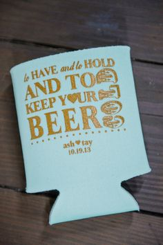 love these gold and Tiffany blue beer cozies!