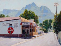 New oil paintings by Cape Town artist, John Kramer, currently on exhibition at the Cape Gallery, Church Street, Cape Town. Corner Cafe, Unique Paintings, Small Towns, South Africa, Cape, World, Store, Gallery, Mantle