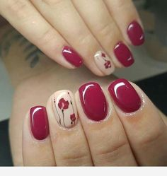 """If you're unfamiliar with nail trends and you hear the words """"coffin nails,"""" what comes to mind? It's not nails with coffins drawn on them. It's long nails with a square tip, and the look has. Fall Nail Art Designs, Colorful Nail Designs, Cute Nails, Pretty Nails, Nail Decorations, Flower Nails, Nail Art Flowers, French Nails, Red Nails"""