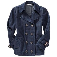 Old Navy Women's Cropped Buttonfront Trench Coats ($20) ❤ liked on Polyvore featuring outerwear, coats, jackets, tops, women, cropped coat, old navy, double-breasted coat, cropped trench coat and old navy coats