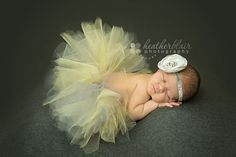 Newborn Tutu, Baby Tutu, Tutu Set, Newborn Tutu Set, Yellow and Gray Tutu, Photo Prop, Tutu and Headband, Singed Rose, Couture. $21.99, via Etsy.