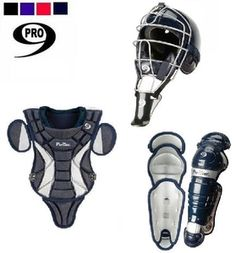 "ProNine Catchers Gear 7-9  - 13"" 2 Way Adjustable T Back Harness Chest Protector With Removable Shoulder Cap and Tail • Plastic Plates Embedded in Foam of Sternum and Collarbone of Chest Protector for Maximum Protection  - 12"" Double Knee Hi Impact ABS Plastic Shin Guards  - CH1SZ Mask  $129.99"