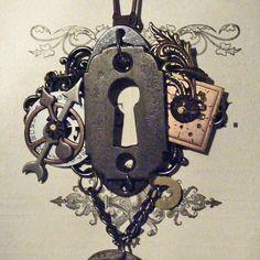 PORTAL  - Steampunk Assemblage Altered Art Vintage Key Hole Escutcheon Watch Dial Mens, Womens Necklace - OOAK. $39.99, via Etsy.