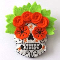 felt calavera | Mexican Day of the Dead Felt Brooch Calaveras on Wanelo