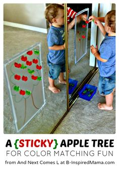A Color Matching (Sticky) Apple Tree Activity - Perfect for Preschool Kids & Fall Themed Early Learning - at B-Inspired Mama Preschool Apple Theme, Apple Activities, Fall Preschool, Autumn Activities, Toddler Preschool, Toddler Crafts, Preschool Activities, Crafts For Kids, Infant Activities