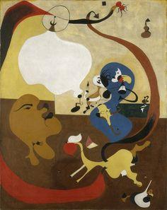 Interno olandese II. Joan Mirò 1928.  Anima-legnetti che giocano in casa.