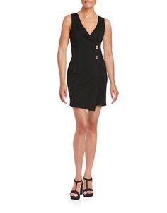 Jessica Simpson V-Neck Stretch Dress Women's Black 2