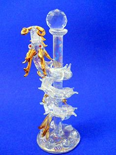 New Glass Dragon Figurine Wrapped Around Glass Pole Gold Horns Tail Scales Rhinestone Everspring http://www.amazon.com/dp/B01BFRVDES/ref=cm_sw_r_pi_dp_NQ9Twb1548X8G