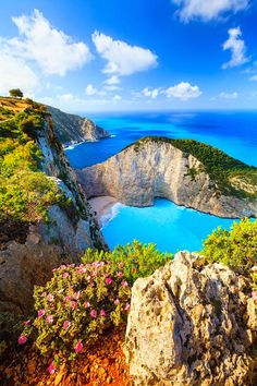 Areal View of Shipwreck Beach, Ionian Islands Greece