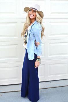 Blue maxi skirt, graphic tee, chambray shirt