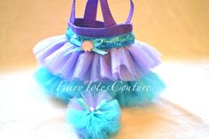 Little Mermaid Inspired Tutu Tote & Tulle Hair Bow Poof Gift Set - Party Favor - Gift Bag - Mini Purse - Decoration