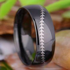 Tungsten 8mm Baseball Stitch Men's Wedding Ring - Black