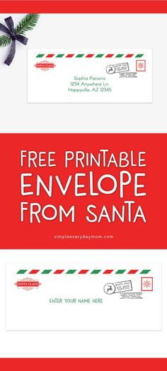 Free Printable Envelope From Santa | Put the finishing touch on your letters from Santa with this envelope straight from the north pole #christmastime #NorthPole #kids #simpleeverydaymom #freeprintable