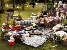Helkväll i parken med SIARÖ regissörsstol, generösa kuddar och plädar – och såklart den goda picnicmaten! BYHOLMA kista.