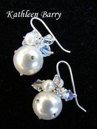 Linda Earrings  Pearl & Crystal Diamanté by KathleenBarryJewelry, $35.00 sterling silver hooks #wedding #earrings #crystal