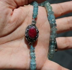 Ruby and Aquamarine Natural Necklace by Kimberly Hahn www.kimberlyhahnstreasures.com