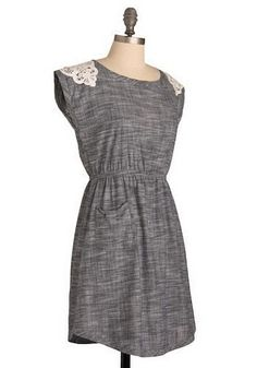 DIY dress inspiration. Love the shape of the hem and the pockets