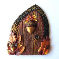 Acorn Fairy Door for Autumn Miniature Fall Garden by Claybykim