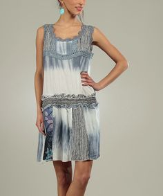 Another great find on #zulily! Blue & White Blue Floral Drop-Waist Dress by For Her #zulilyfinds