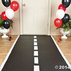Race Track Floor Runner, mad e with tablecloth and withe felt