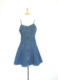 b718287c59 Vintage Early 1990s Zip-Up Jean Dress. Size Small. Flared Skirt